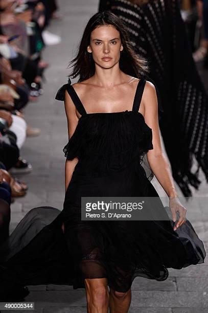 Model Alessandra Ambrosio walks the runway during the Philosophy di Lorenzo Serafini fashion show as part of Milan Fashion Week Spring/Summer 2016 on...