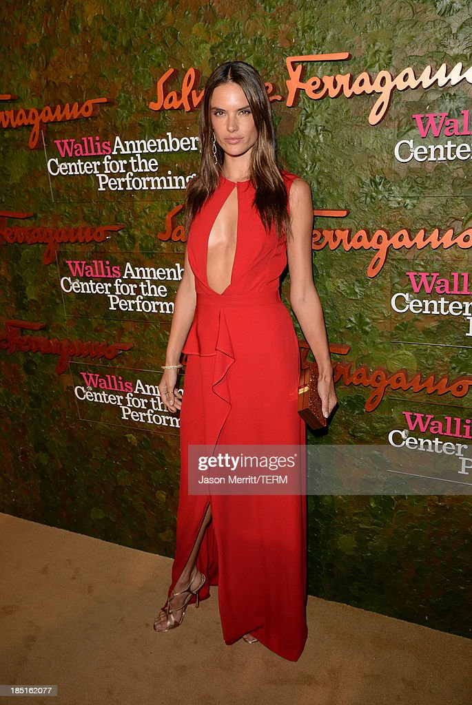 Model Alessandra Ambrosio, wearing Ferragamo, arrives at the Wallis Annenberg Center for the Performing Arts Inaugural Gala presented by Salvatore Ferragamo at the Wallis Annenberg Center for the Performing Arts on October 17, 2013 in Beverly Hills, California.