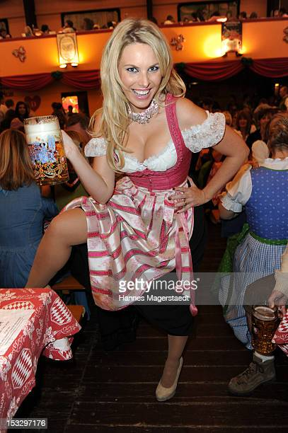 Model Alessandra Geissel attends the Oktoberfest beer festival at the Hippodrom tent on October 2 2012 in Munich Germany