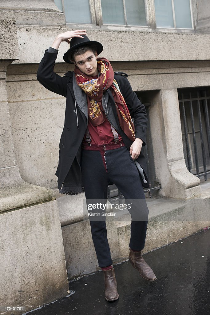 Model Alex Ferario on day 3 of Paris Collections: Women on February 27, 2014 in Paris, France.