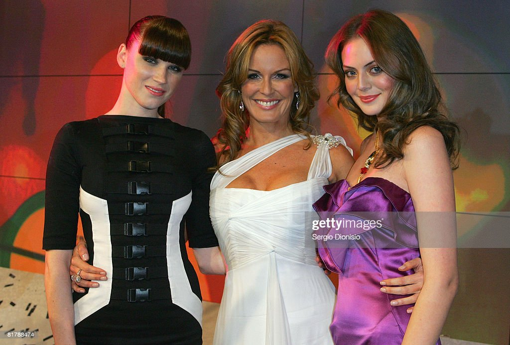Model Alex Girdwood Australia's Next Top Model Demelza Reveley and TV Host Charlotte Dawson pose for a photo following the final show to announce the...