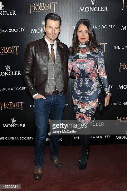 Model Alex Lundqvist and Keytt Lundqvist attend New Line Cinema and MGM Pictures' screening of 'The Hobbit The Desolation of Smaug' hosted by the...