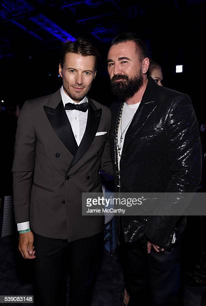 Model Alex Lundqvist and President of Kiehls Chris Salgardo attend the 7th Annual amfAR Inspiration Gala at Skylight at Moynihan Station on June 9...