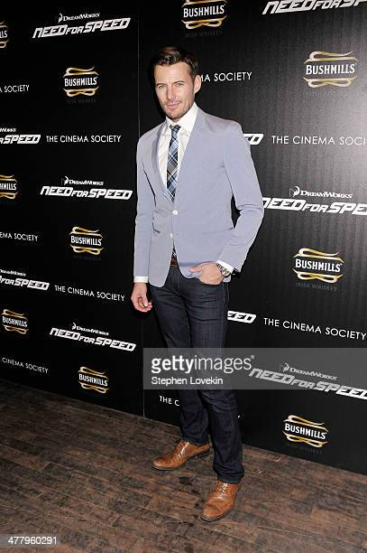 Model Alex Lundqvist attends DreamWorks Pictures' 'Need For Speed' screening hosted by The Cinema Society and Bushmills on March 11 2014 in New York...