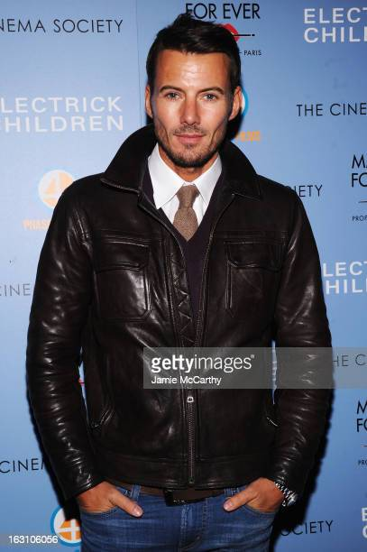 Model Alex Lundqvist attends The Cinema Society Make Up For Ever screening of 'Electrick Children' at IFC Center on March 4 2013 in New York City