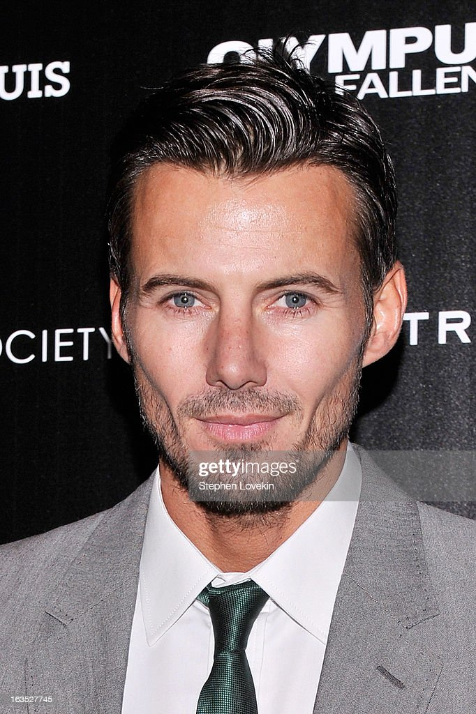 Model Alex Lundqvist attends The Cinema Society with Roger Dubuis and Grey Goose screening of FilmDistrict's 'Olympus Has Fallen' at Tribeca Grand Hotel on March 11, 2013 in New York City.