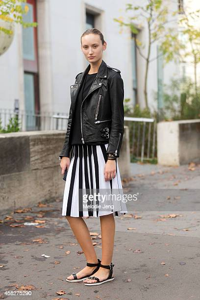 Model Alex Yuryeva exits the Leonard Paris show at Palais de Tokyo on Day 7 of Paris Fashion Week Spring/Summer 2015 on September 29 2014 in Paris...