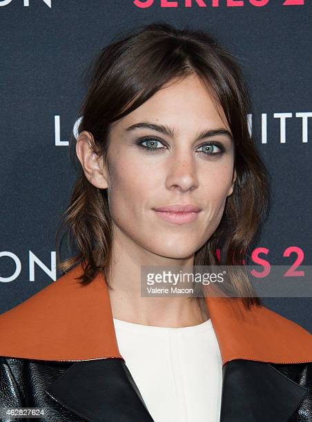Model Alexa Chung arrives at Louis Vuitton 'Series 2' The Exhibition on February 5 2015 in Hollywood California