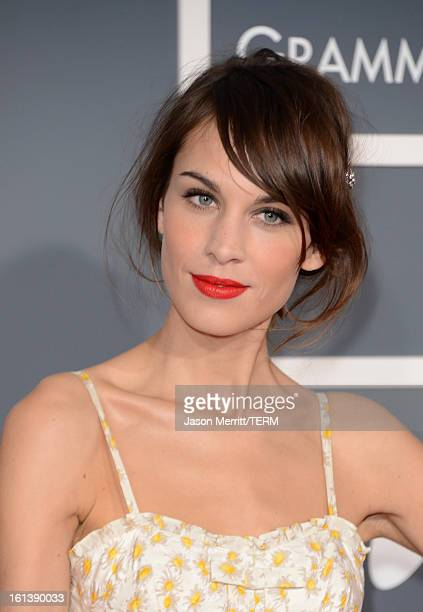 Model Alexa Chung arrives at the 55th Annual GRAMMY Awards at Staples Center on February 10 2013 in Los Angeles California