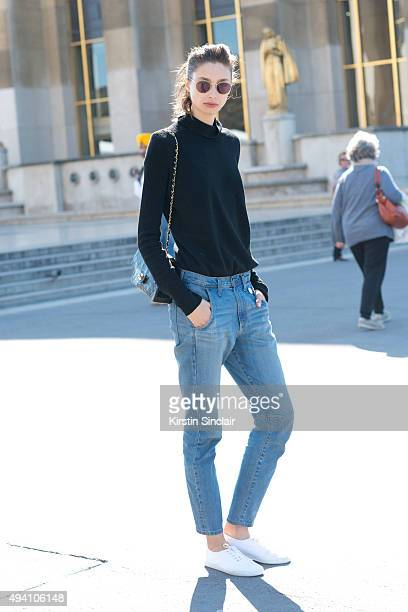 Model Alexandra Agoston on day 3 during Paris Fashion Week Spring/Summer 2016/17 on October 1 2015 in London England