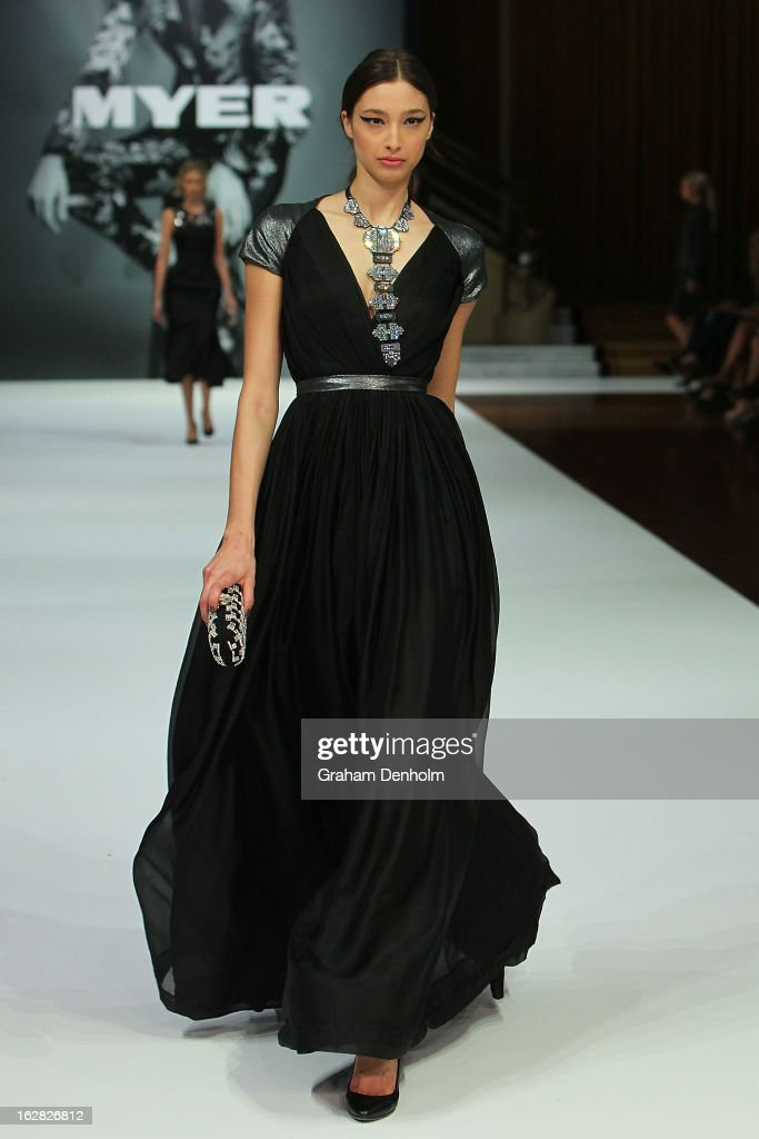 Model Alexandra Agoston showcases designs by Aurelio Costarella at the Myer Autumn/Winter 2013 collections launch at Mural Hall at Myer on February 28, 2013 in Melbourne, Australia.