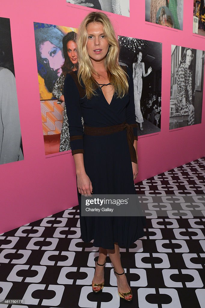 Model Alexandra Richards, wearing Diane Von Furstenberg, attends Diane Von Furstenberg's Journey of A Dress Exhibition Opening Celebration at May Company Building at LACMA West on January 10, 2014 in Los Angeles, California.