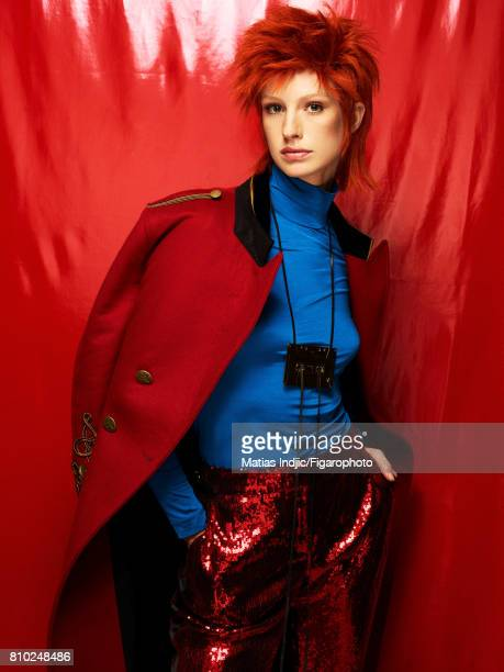 Model poses as David Bowie at a fashion shoot for Madame Figaro on May 10 2017 in Paris France Coat top pants necklace CREDIT MUST READ Matias...