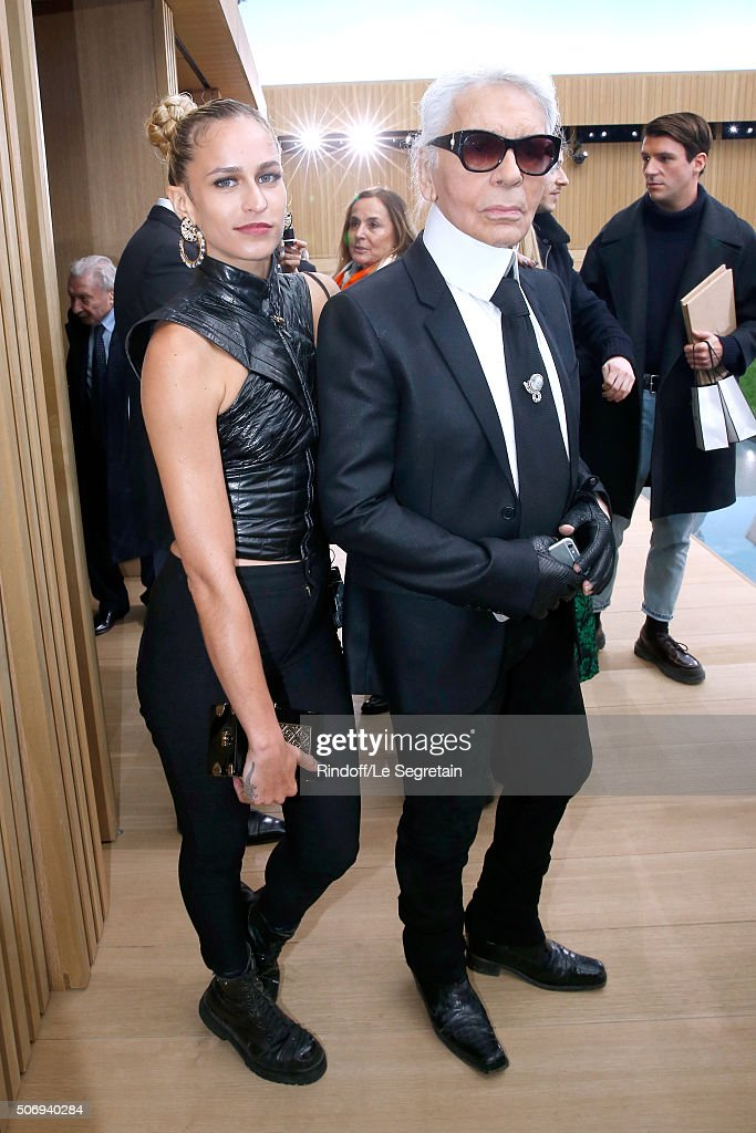 Model Alice Dellal and Stylist Karl Lagerfeld pose after the Chanel Spring Summer 2016 show as part of Paris Fashion Week on January 26, 2016 in Paris, France.