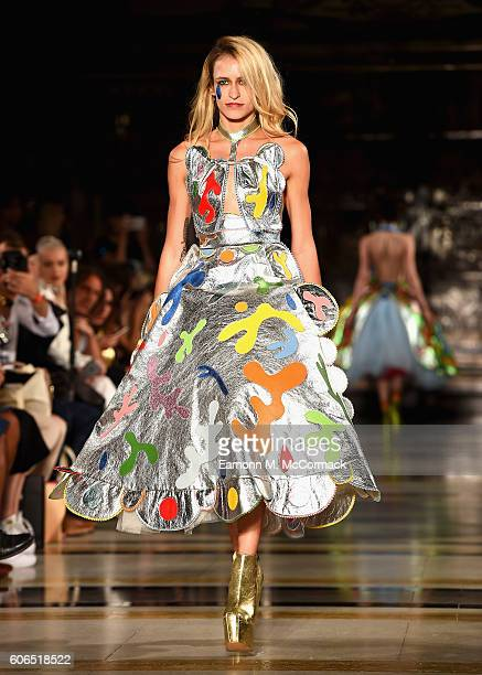 Model Alice Dellal walks the runway at the Pam Hogg show at Fashion Scout during London Fashion Week Spring/Summer collections 2017 on September 16...