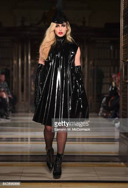 Model Alice Dellal walks the runway at the Pam Hogg show during the London Fashion Week February 2017 collections on February 19 2017 in London...