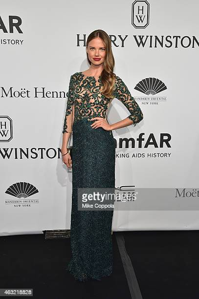 Model Alicia Rountree attends the 2015 amfAR New York Gala at Cipriani Wall Street on February 11 2015 in New York City