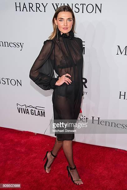 Model Alina Baikova attends the 2016 amfAR New York Gala at Cipriani Wall Street on February 10 2016 in New York City