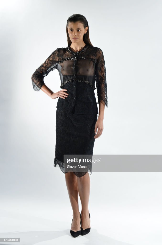 Model Alisar Ailabouni poses at the David Tlale Spring 2014 fashion presentation during Mercedes-Benz Fashion Week at The Box at Lincoln Center on September 5, 2013 in New York City.