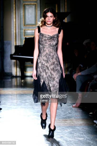 Model Alisar Ailabouni walks the runway at the Blumarine designed by Anna Molinari show during Milan Fashion Week Fall/Winter 2017/18 on February 25...