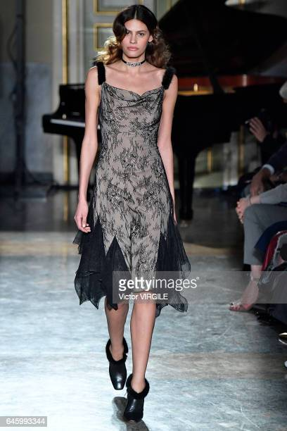 Model Alisar Ailabouni walks the runway at the Blumarine Ready to Wear fashion show during Milan Fashion Week Fall/Winter 2017/18 on February 25 2017...