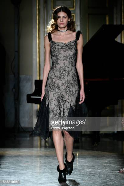 Model Alisar Ailabouni walks the runway at the Blumarine show during Milan Fashion Week Fall/Winter 2017/18 on February 25 2017 in Milan Italy