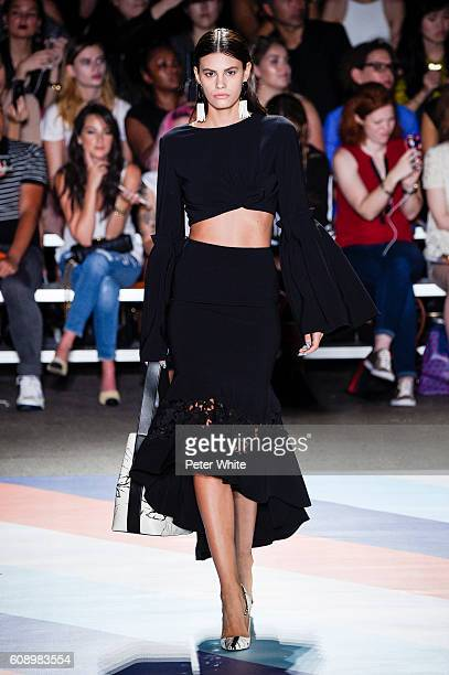 Model Alisar Ailabouni walks the runway at the Christian Siriano fashion show during New York Fashion Week at ArtBeam on September 10 2016 in New...