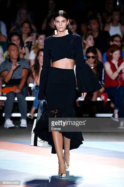 Model Alisar Ailabouni walks the runway at the Christian Siriano show at ArtBeam on September 10 2016 in New York City