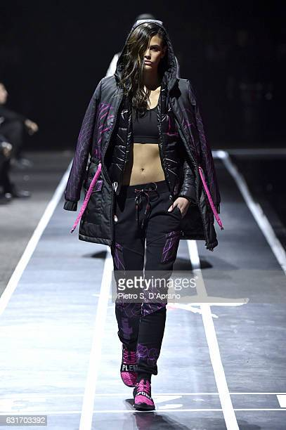 Model Alisar Ailabouni walks the runway at the Plein Sport show during Milan Men's Fashion Week Fall/Winter 2017/18 on January 14 2017 in Milan Italy