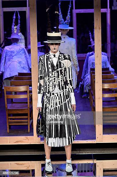 Model Alisar Ailabouni walks the runway at the Thom Browne Spring Summer 2016 fashion show during New York Fashion Week on September 14 2015 in New...