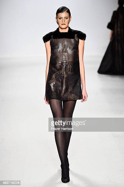 Model Alisar Ailabouni walks the runway at the Zang Toi fashion show during MercedesBenz Fashion Week Fall 2015 at The Salon at Lincoln Center on...
