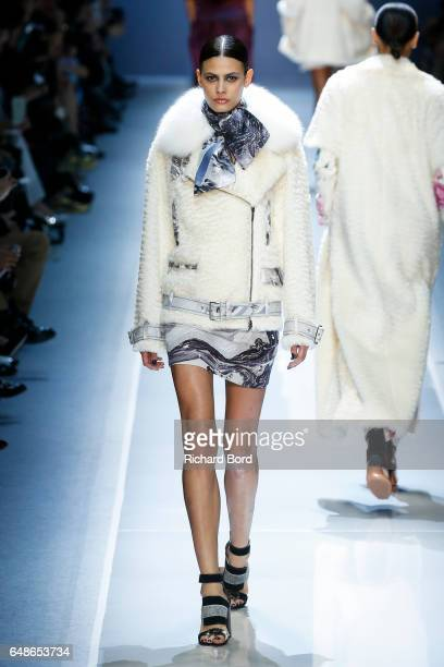 Model Alisar Ailabouni walks the runway during the Leonard Paris show at Grand Palais as part of the Paris Fashion Week Womenswear Fall/Winter...