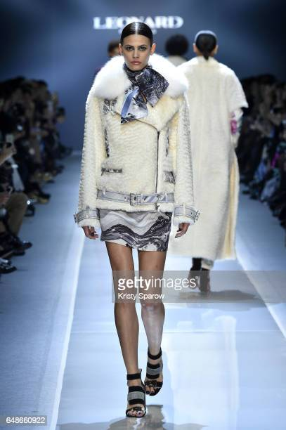 Model Alisar Ailabouni walks the runway during the Leonard Paris show as part of Paris Fashion Week Womenswear Fall/Winter 2017/2018 on March 6 2017...