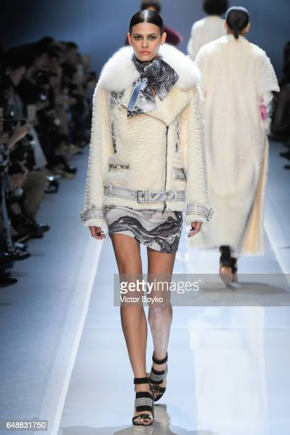 Model Alisar Ailabouni walks the runway during the Leonard Paris show as part of the Paris Fashion Week Womenswear Fall/Winter 2017/2018 on March 6...