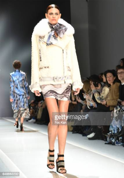 Model Alisar Ailabouni walks the runway during the Leonard Paris show as part of the Paris Fashion Week Womenswear Fall/Winter 2017/2018 at Grand...