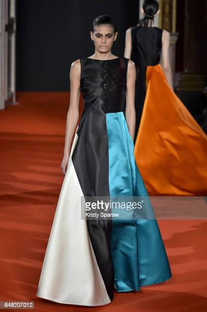 Model Alisar Ailabouni walks the runway during the Talbot Runhof show as part of Paris Fashion Week Womenswear Fall/Winter 2017/2018 on March 4 2017...