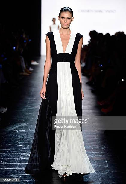 Model Alisar Ailabouni walks the runway wearing Carmen Marc Valvo Women's and Men's Collection S/S 2016 during New York Fashion Week The Shows at The...