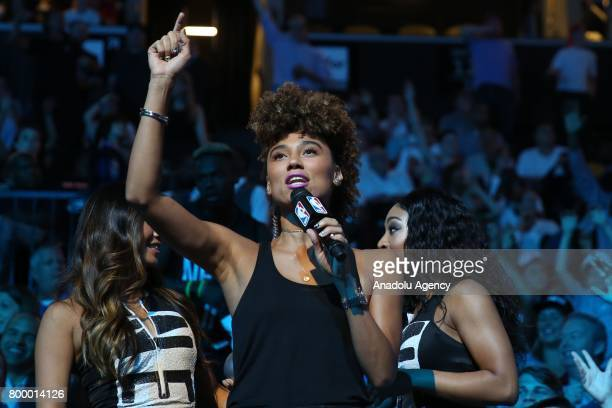 Model Alli Love is seen during Draft 2017 in Barclays Center in Brooklyn borough of New York United States on June 22 2017