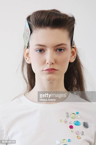 Model Allyson Chalmers poses backstage at Brock Collection fashion show during MADE Fashion Week September 2016 at Milk Studios on September 8 2016...
