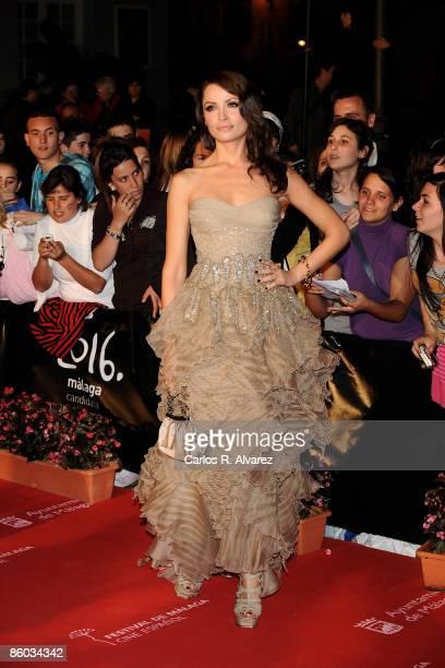 Model Almudena Fernandez attends the 'Malaga' Award ceremony at the Cervantes Theater during the 12th Malaga Film Festival on April 18 2009 in Malaga...