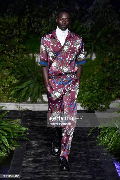 Model Alpha Dia at HM x ERDEM Runway Show Party at The Ebell Club of Los Angeles on October 18 2017 in Los Angeles California