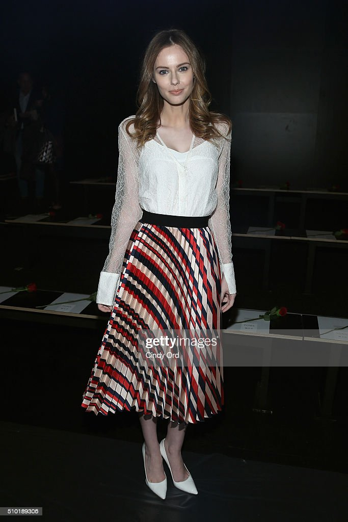 Model Alyssa Campanella attends the Tome Fall 2016 fashion show during New York Fashion Week: The Shows at The Dock, Skylight at Moynihan Station on February 14, 2016 in New York City.
