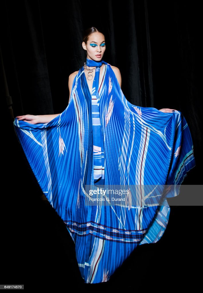 Model Amanda Harvey poses backstage before the Leonard Paris show as part of the Paris Fashion Week Womenswear Fall/Winter 2017/2018 on March 6, 2017 in Paris, France.