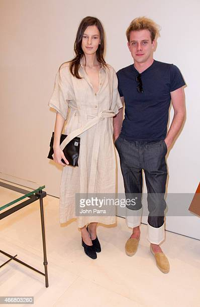 Model Amanda Murphy and Jonathan Anderson attend the LOEWE US debut event on March 18 2015 in Miami Florida