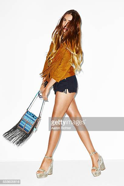 Model Amber Le Bon is photographed for Cosmopolitan US in 2015 in New York City Styling by Melissa Nicole Buck hair by Nathan Rosenkranz and makeup...