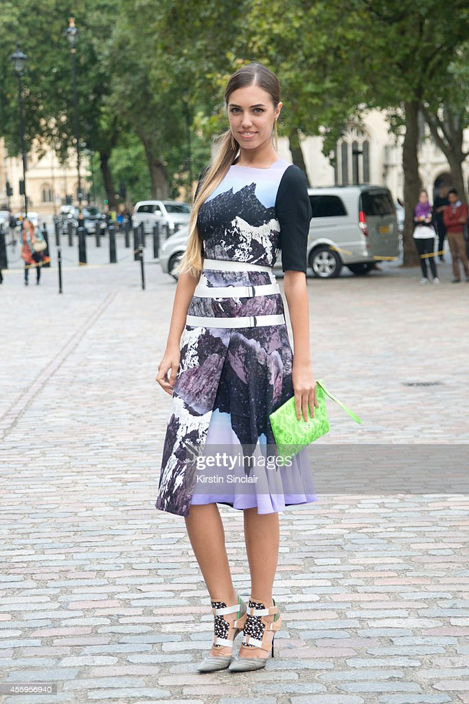 Model Amber Le Bon is wearing a Peter Pilotto dress Nicolas Kirkwood for Peter Pilotto shoes and Christopher Kane bag on day 4 of London Collections...