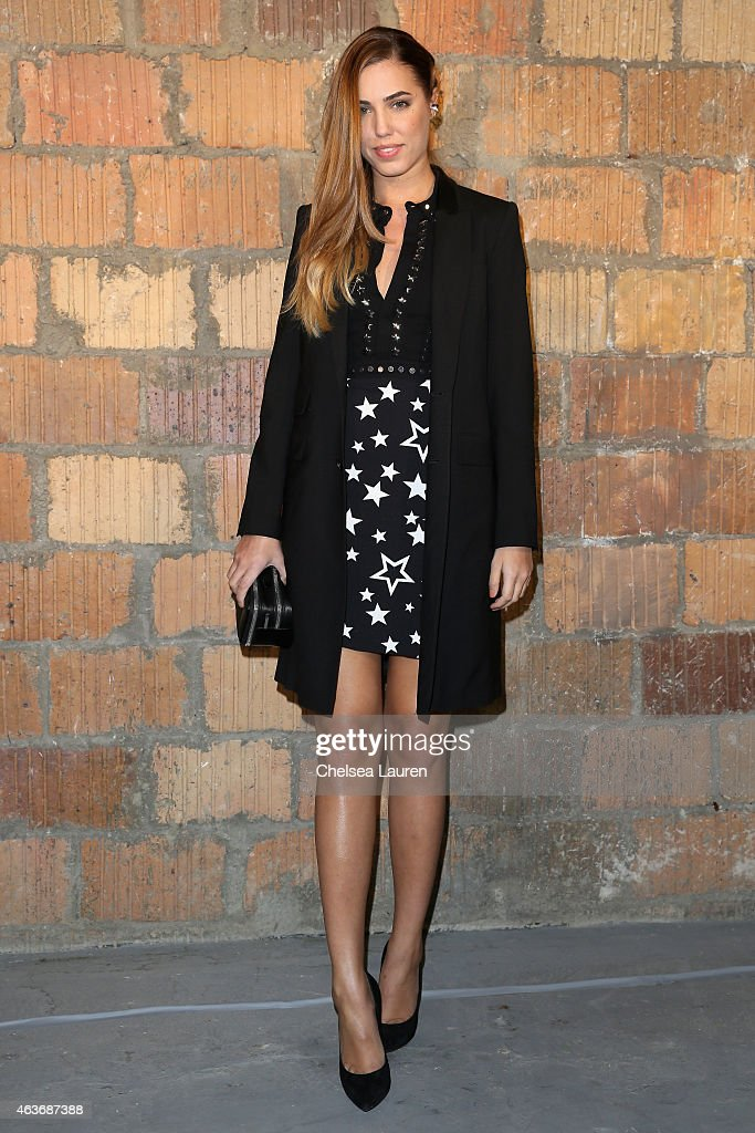 Model Amber Le Bon poses backstage at the Diesel Black Gold fashion show during MercedesBenz Fashion Week Fall 2015 on February 17 2015 in New York...