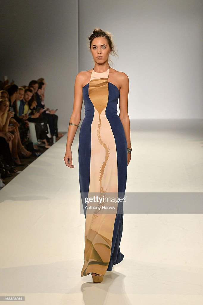 Model Amber Le Bon walks the runway at the Gyunel show during London Fashion Week Spring Summer 2015 at Bloomsbury Ballroom on September 12 2014 in...