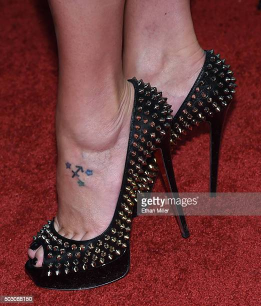 Model Amber Nichole Miller shoes detail arrives at SLS Las Vegas for a New Year's Eve celebration on December 31 2015 in Las Vegas Nevada