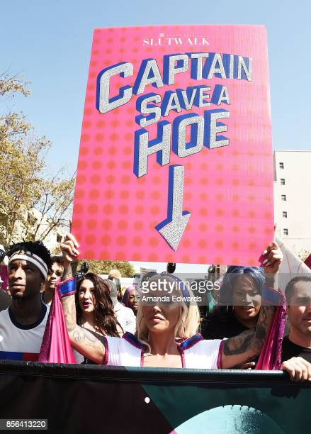Model Amber Rose and rapper 21 Savage attend the 3rd Annual Amber Rose SlutWalk on October 1 2017 in Los Angeles California
